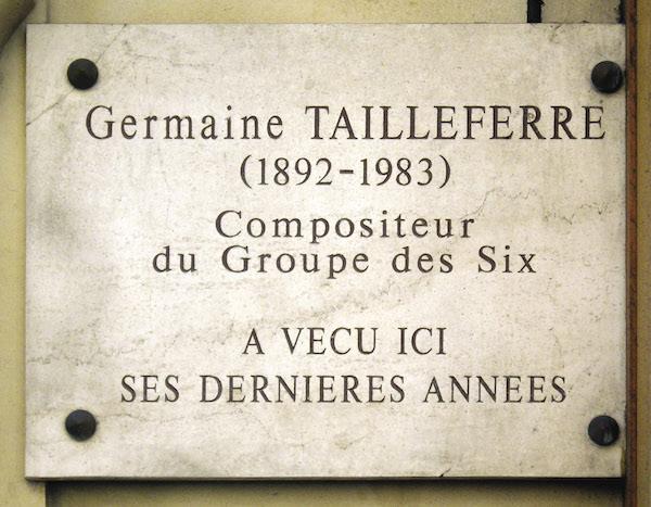 Targa presso l'ultima abitazione di Germaine Tailleferre - Rue d'Assas 87, Parigi
