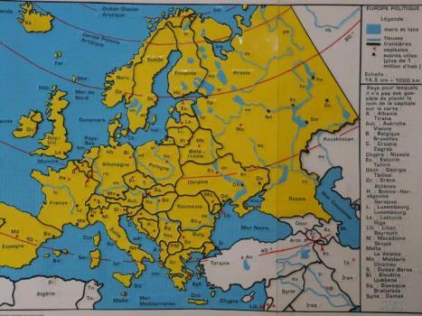 carta geografica tattile dell'Europa